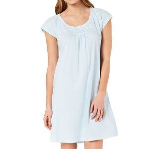 NWT Miss Elaine Short Sleeved Knit Nightgown Blue